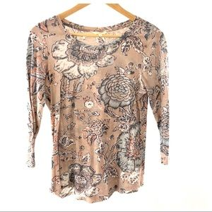 Lucky Brand Pink Floral 3/4 Sleeve Crew Top S